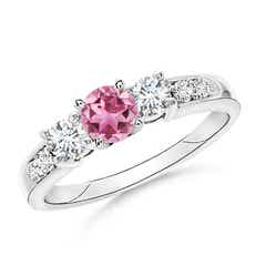 Three Stone Pink Tourmaline and Diamond Ring