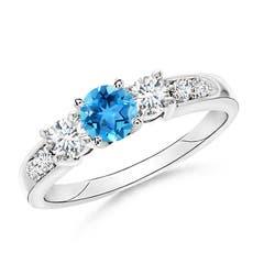 Three Stone Swiss Blue Topaz and Diamond Ring