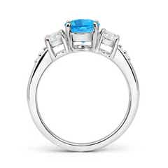 Toggle Three Stone Swiss Blue Topaz and Diamond Ring