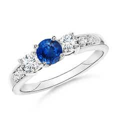 Three Stone Sapphire and Diamond Ring