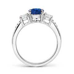 Toggle Three Stone Sapphire and Diamond Ring