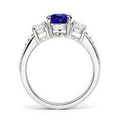 Toggle Three Stone Tanzanite and Diamond Ring