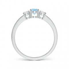 Toggle Three Stone Aquamarine and Diamond Ring with Accents