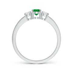 Toggle Three Stone Emerald and Diamond Ring with Accents