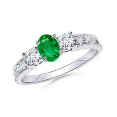 Three Stone Diamond and Emerald Ring with Accent