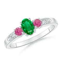 Three Stone Pink Sapphire and Emerald Ring with Accent