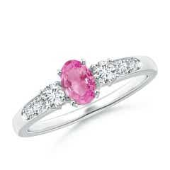 Three Stone Pink Sapphire and Diamond Ring with Accents