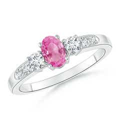 3 Stone Oval Pink Sapphire and Diamond Ring with Accents