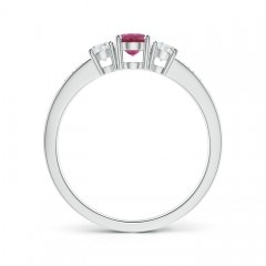 Toggle Three Stone Pink Tourmaline and Diamond Ring with Accents