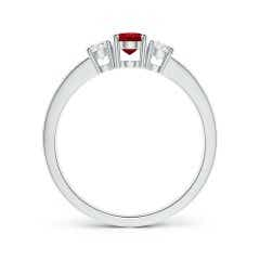 Toggle Three Stone Ruby and Diamond Ring with Accents