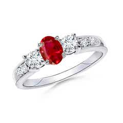 Three Stone Oval Ruby and Diamond Ring with Accents