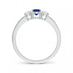 Toggle Three Stone Blue Sapphire and Diamond Ring with Accents