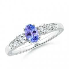Three Stone Oval Tanzanite and Diamond Ring with Accent