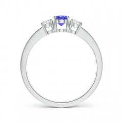 Toggle Three Stone Tanzanite and Diamond Ring with Accents