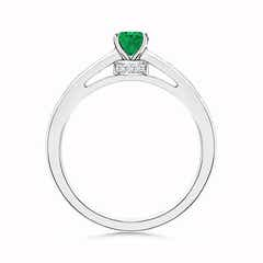 Toggle Oval Solitaire Emerald Ring with Diamonds