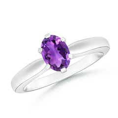 Tapered Shank Oval Solitaire Amethyst Ring