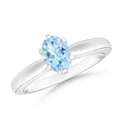 Tapered Shank Oval Solitaire Aquamarine Ring