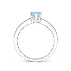 Toggle Tapered Shank Oval Solitaire Aquamarine Ring