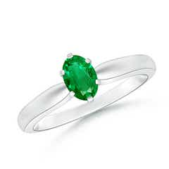 Tapered Shank Oval Solitaire Emerald Ring