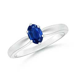 6 Prong Tapered Shank Oval Solitaire Sapphire Ring