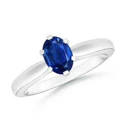 Tapered Shank Oval Solitaire Sapphire Ring