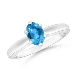 Tapered Shank Oval Solitaire Swiss Blue Topaz Ring