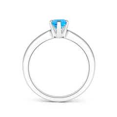 Toggle Tapered Shank Oval Solitaire Swiss Blue Topaz Ring