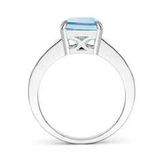 Toggle Octagonal Aquamarine Cocktail Ring with Diamonds