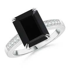Octagonal Black Onyx Cocktail Ring with Diamonds