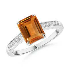Double Claw-Set Citrine Solitaire Ring with Diamond Accent