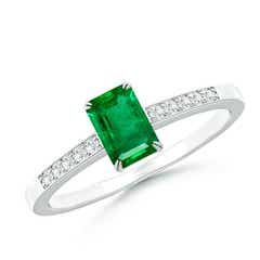 Double Claw-Set Emerald Solitaire Ring with Diamond Accent