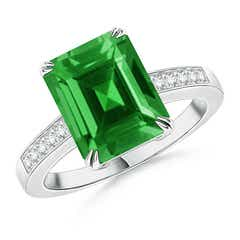 Claw-Set Lab Created Emerald Cocktail Ring with Diamond Accent