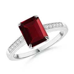 Double Claw-Set Garnet Solitaire Ring with Diamond Accent