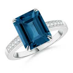 Emerald-Cut London Blue Topaz Cocktail Ring with Diamonds