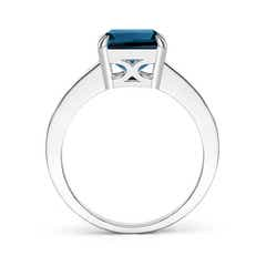 Toggle Octagonal London Blue Topaz Cocktail Ring with Diamonds