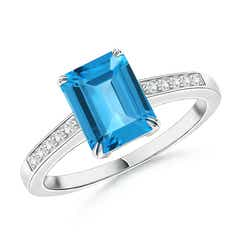 Double Claw-Set Swiss Blue Topaz Solitaire Ring with Diamonds