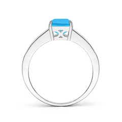 Toggle Octagonal Swiss Blue Topaz Cocktail Ring with Diamonds