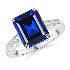 Claw-Set Emerald Cut Lab Created Sapphire Cocktail Ring with Diamond Accent