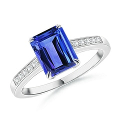 Claw-Set Emerald Cut Tanzanite Cocktail Ring with Diamond Accent