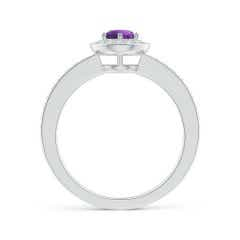 Toggle Amethyst Halo Ring with Diamond Accents