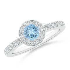 Round Aquamarine Halo Ring with Diamond Accent