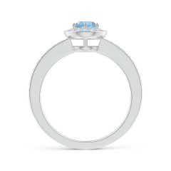 Toggle Aquamarine Halo Ring with Diamond Accents