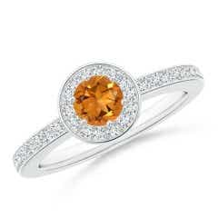 Citrine Halo Ring with Diamond Accents