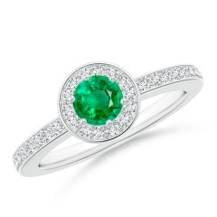 Emerald Halo Ring with Diamond Accents