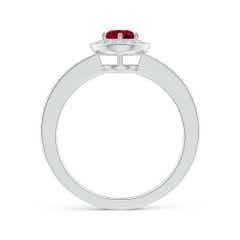 Toggle Garnet Halo Ring with Diamond Accents