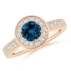 Round London Blue Topaz and Diamond Halo Ring