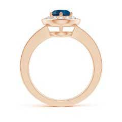 Toggle London Blue Topaz Halo Ring with Diamond Accents