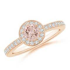 Morganite Halo Ring with Diamond Accents