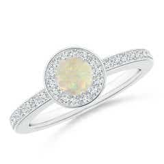 Opal Halo Ring with Diamond Accents