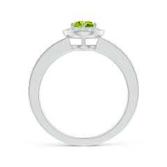 Toggle Peridot Halo Ring with Diamond Accents